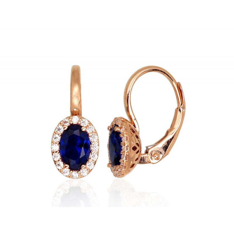 Gold earrings with 'english' lock 1201302(Au-R)_CZ+CZ-B, Red Gold585°, Zirkons