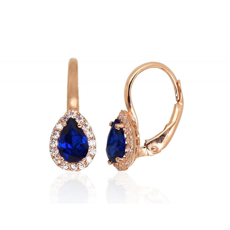 Gold earrings with 'english' lock 1201303(Au-R)_CZ+CZ-B, Red Gold585°, Zirkons
