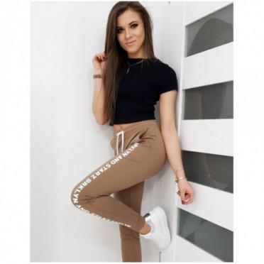 Kelnės (Spodnie dresowe damskie STREET kamelowe UY0266