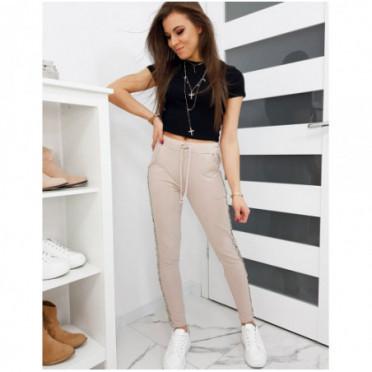 Kelnės (Spodnie dresowe damskie SHINE beżowe UY0271