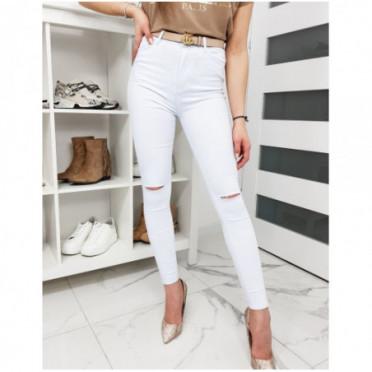 Kelnės (Jeansy damskie Skinny Fit COLIA białe UY0287
