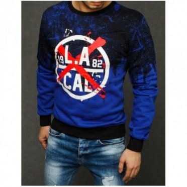 Džemperis (Bluza męska z nadrukiem niebieska BX4434