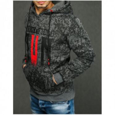 Džemperis (Bluza męska z kapturem antracytowa BX4437